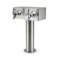 """T"" Tower, 2-Faucet, 3"" Column, Stainless Steel"