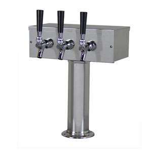 """T"" Tower, 3-Faucet, 3"" Column, Stainless Steel"